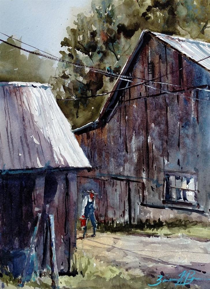 """""""Lori's Barn"""" original fine art by Brienne M Brown"""