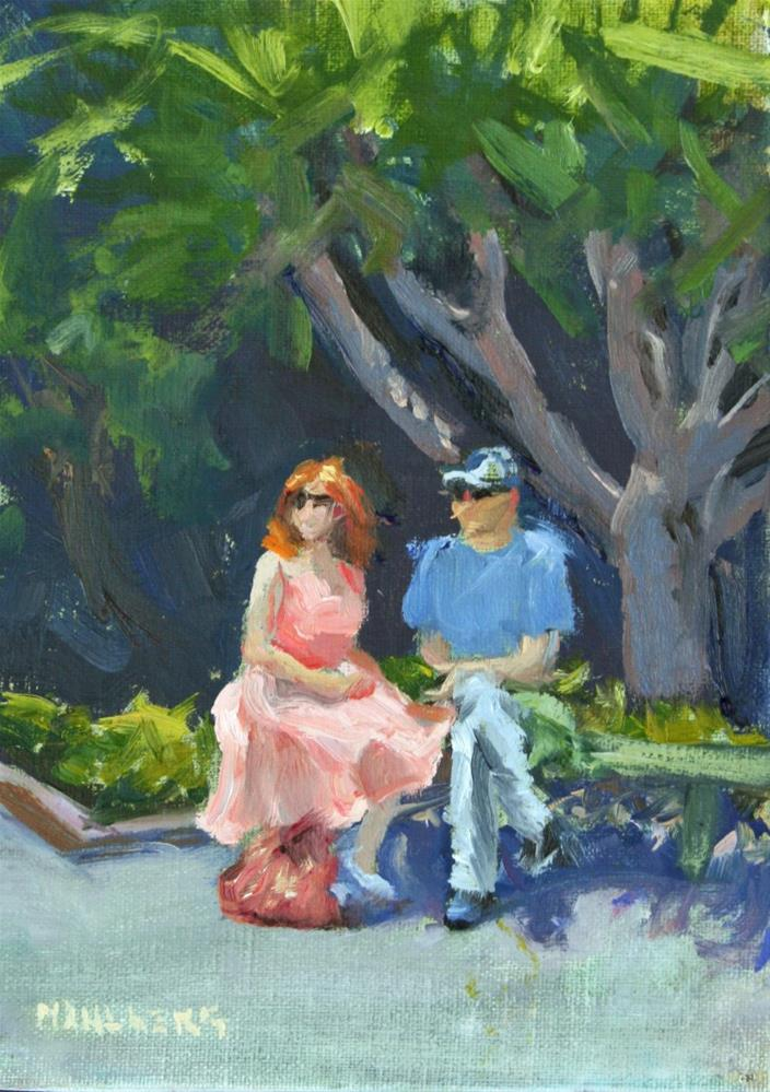 """Couple on Park Bench"" original fine art by Cynthia Mahlberg"
