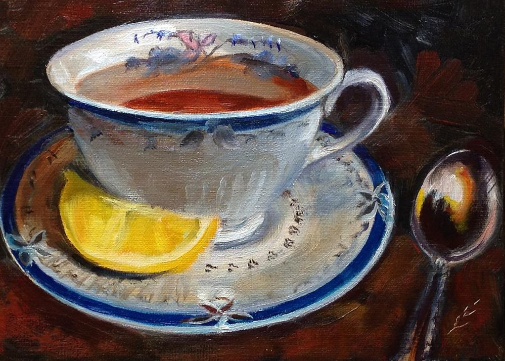 """Cuppa"" original fine art by Linda Lowery"