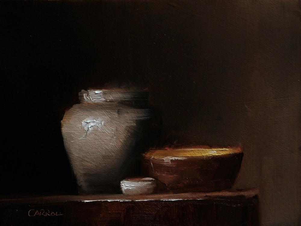 """Three on a Shelf - study"" original fine art by Neil Carroll"