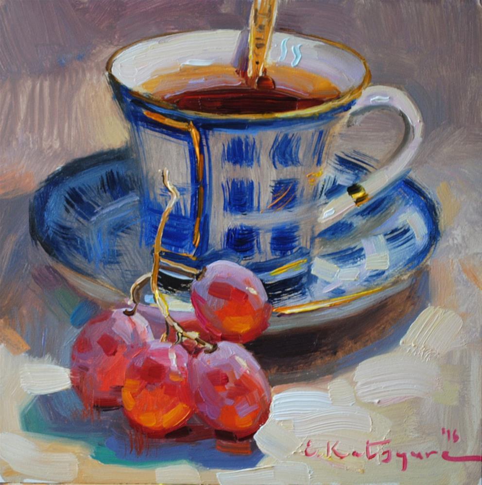"""Blue Teacup and Grapes"" original fine art by Elena Katsyura"
