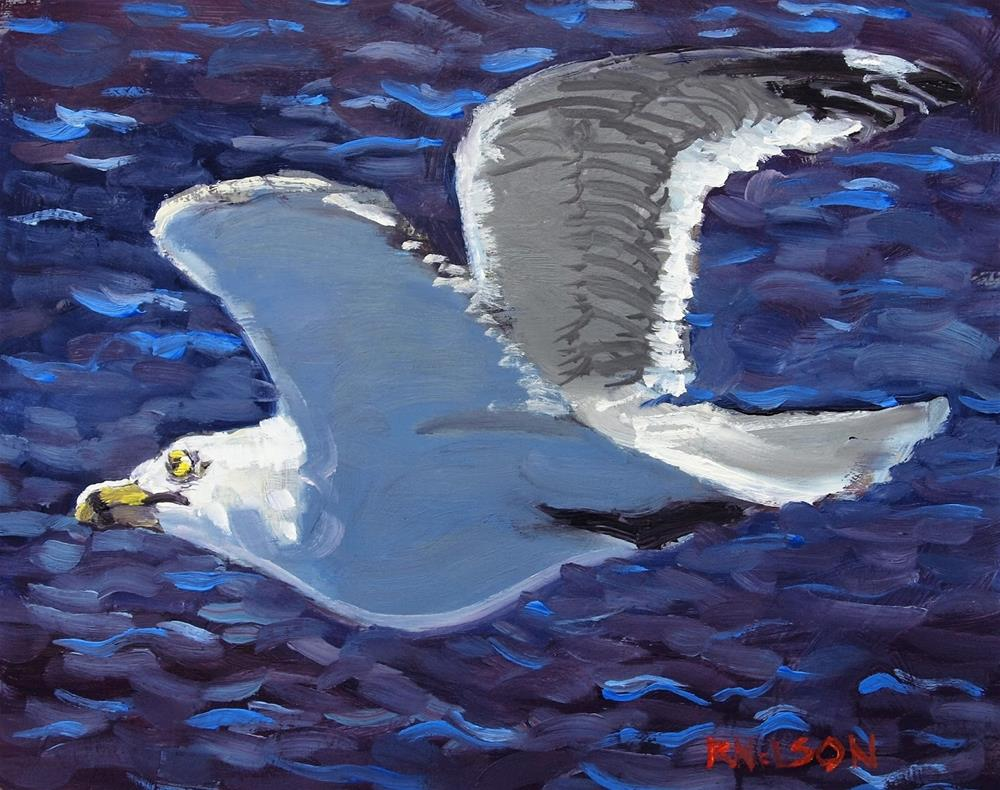 """Seagull Flying"" original fine art by Rick Nilson"