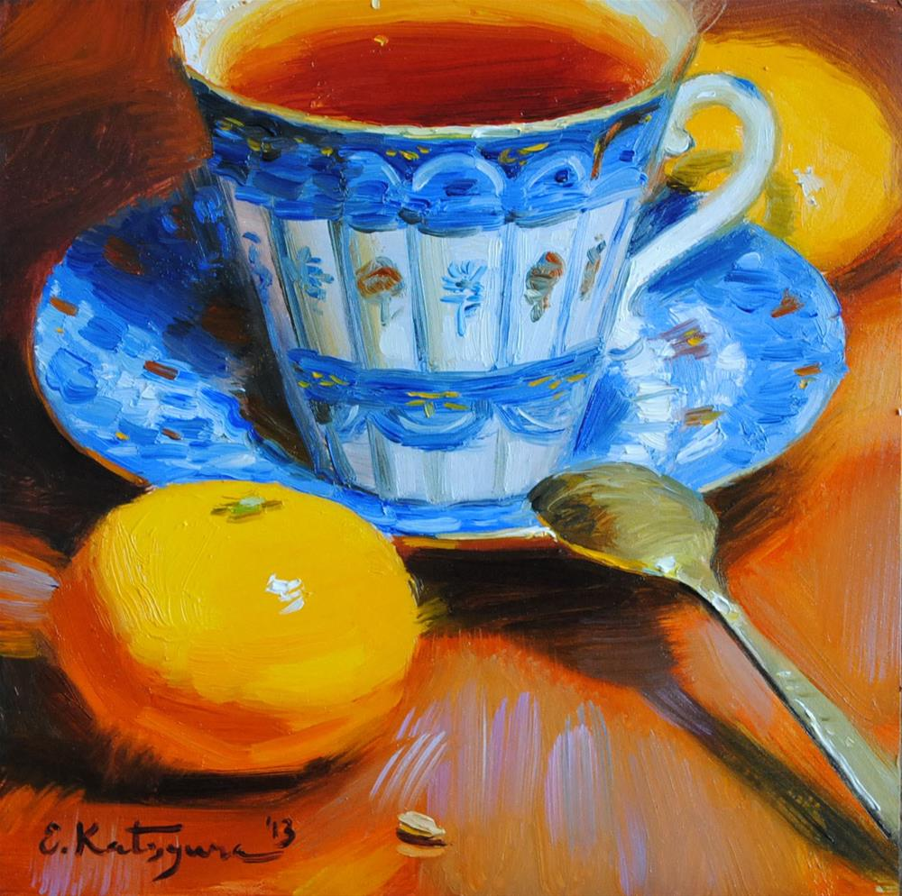 """Tea and Mandarins"" original fine art by Elena Katsyura"