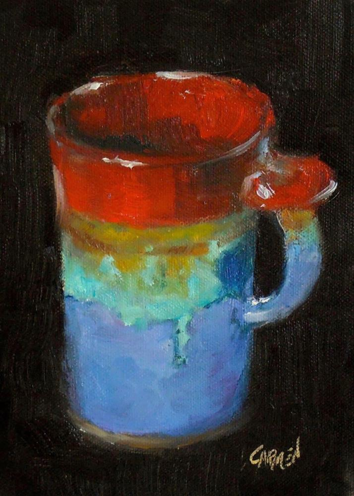 """Tall Cup, 5x7 Oil on Canvas Still Life"" original fine art by Carmen Beecher"