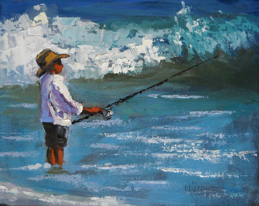 """Daily Oil Painting, Beach Scene, Reel Her In 8x10 Palette Knife Painting"" original fine art by Carol Schiff"