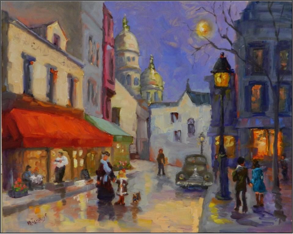 """""""Almost Winter, Montmartre, 16x20, oil on board, Paris street scenes, Place du Tetre, Sacre Couer,"""" original fine art by Maryanne Jacobsen"""