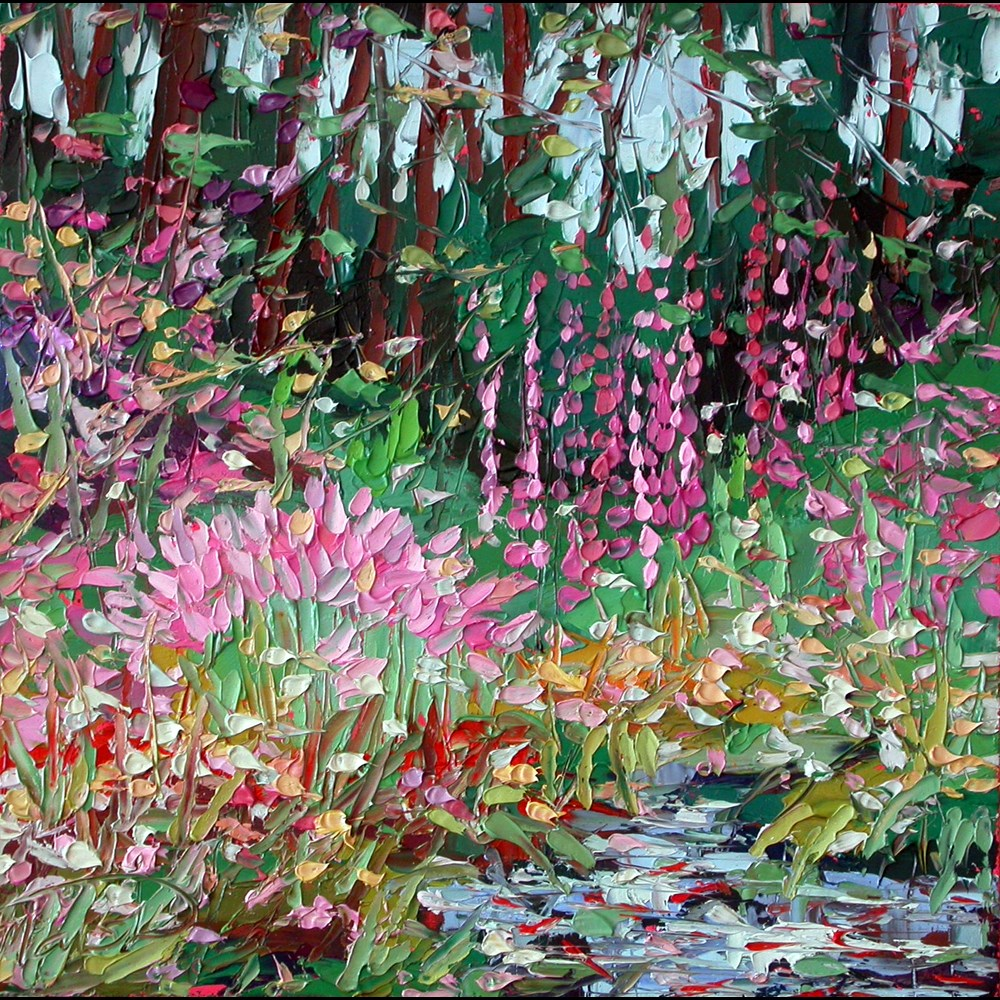 """112415 S 12x12 Magic Lilies and Hollyhocks"" original fine art by Charlene Marsh"