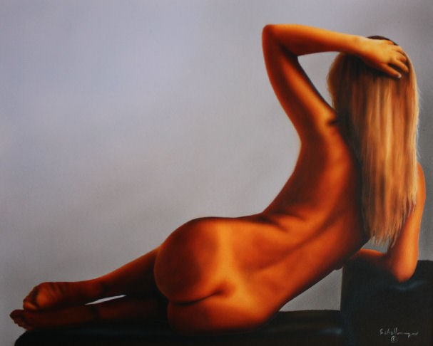 """Nude Study with Shadows"" original fine art by Fred Schollmeyer"