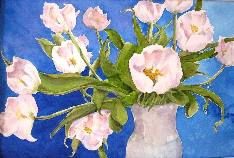 """Tulips on Blue"" original fine art by Judith Freeman Clark"