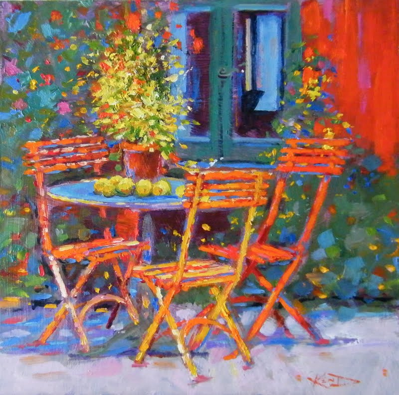 """""""Seat By The Window Please"""" original fine art by Ken Devine"""