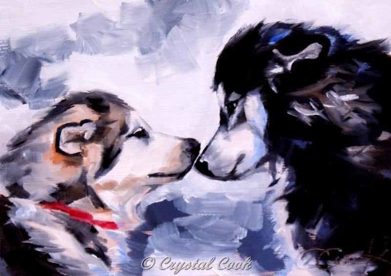 """Meet Cute"" original fine art by Crystal  Cook"