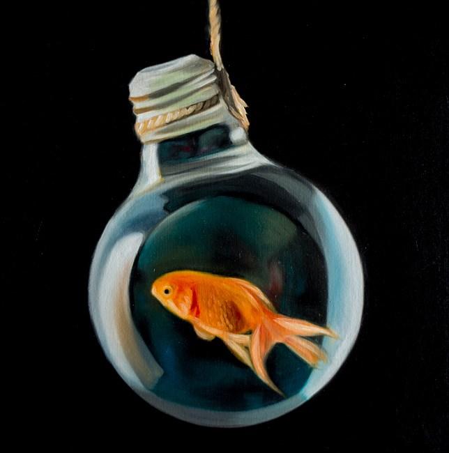 """Goldfish Light Bulb #16"" original fine art by Lauren Pretorius"