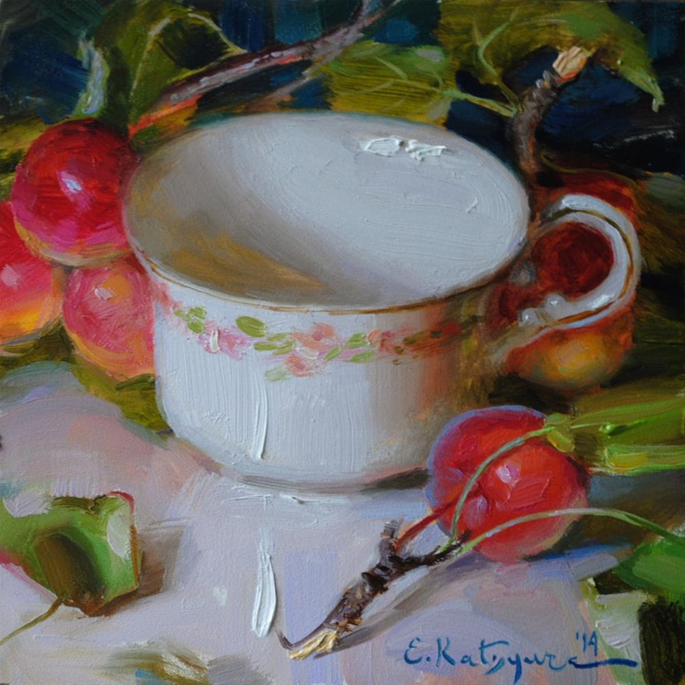 """Teacup and Apples"" original fine art by Elena Katsyura"