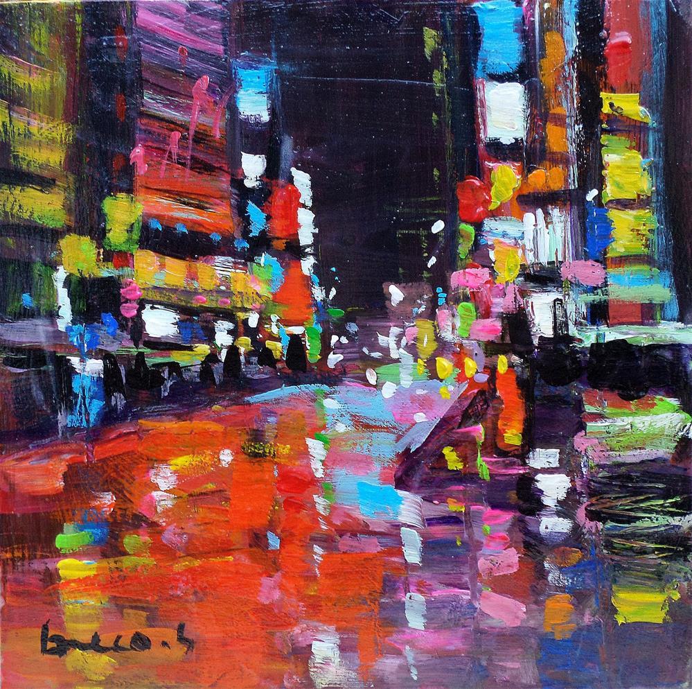 """Night in new york city"" original fine art by salvatore greco"