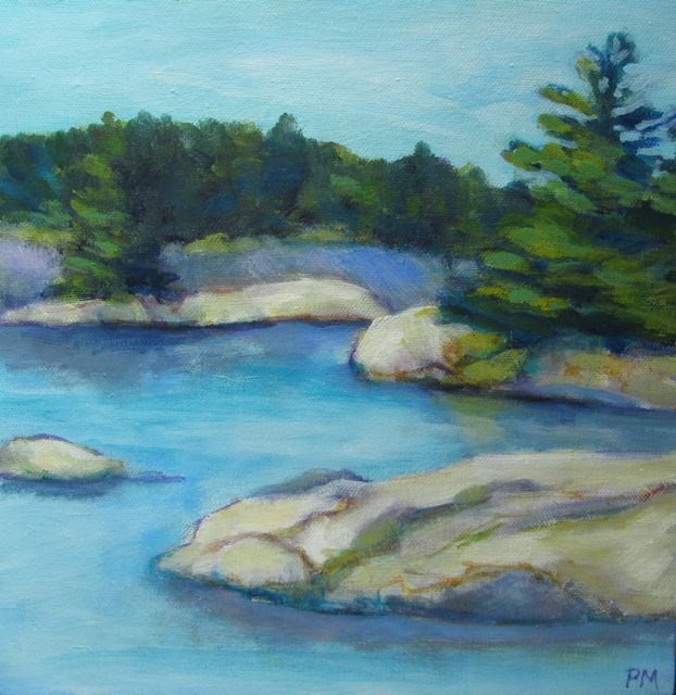 """Trees, Water, Rocks & Sky"" original fine art by Patricia MacDonald"