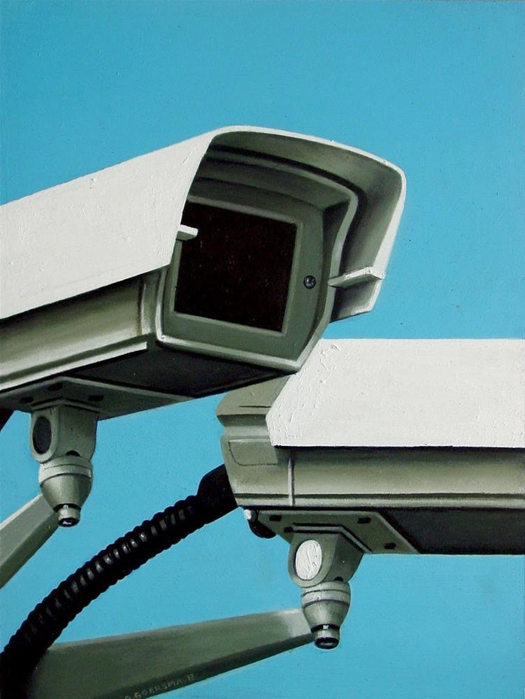 """Security Camera 23- Still Life Street Scene Painting Of CCTV Surveillance Video Camera"" original fine art by Gerard Boersma"