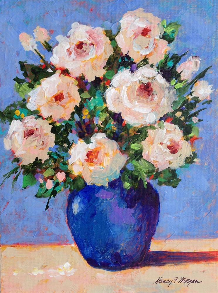 """White Roses"" original fine art by Nancy F. Morgan"