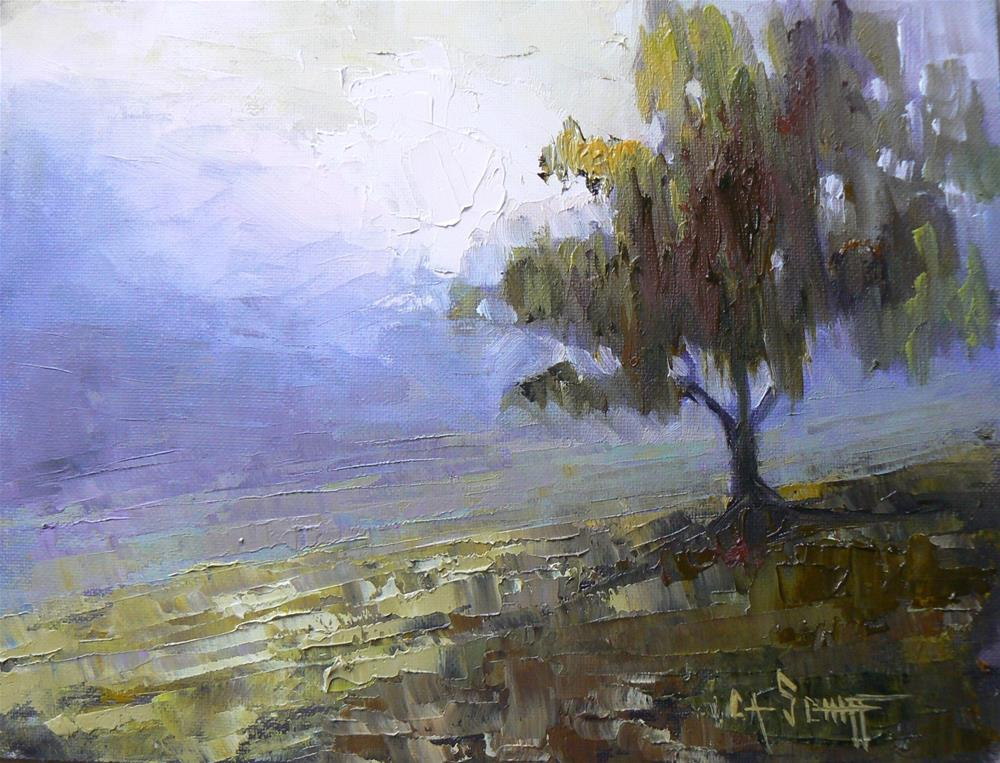"""Small Tree Painting, My Morning Companion 6x8"" original fine art by Carol Schiff"