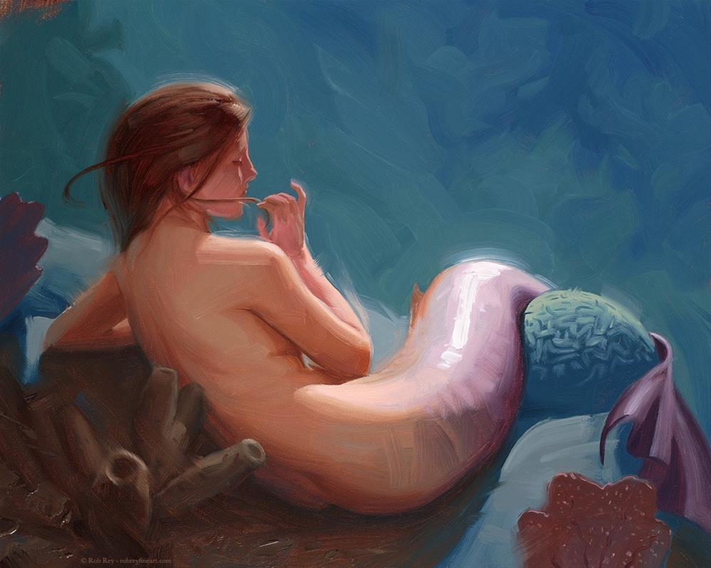 """Mermaid 1"" original fine art by Rob  Rey"