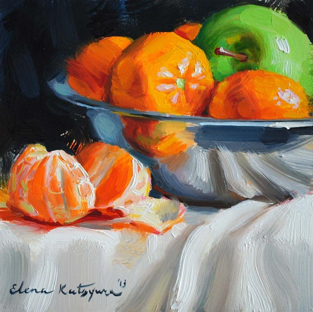 """Apple and Tangerines"" original fine art by Elena Katsyura"