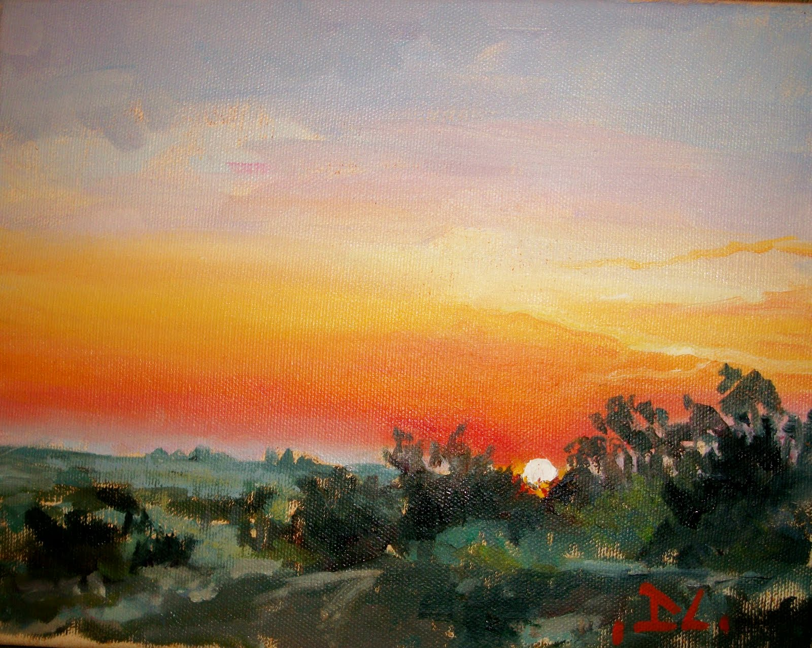 """50/50 SUNSET"" original fine art by Doug Carter"