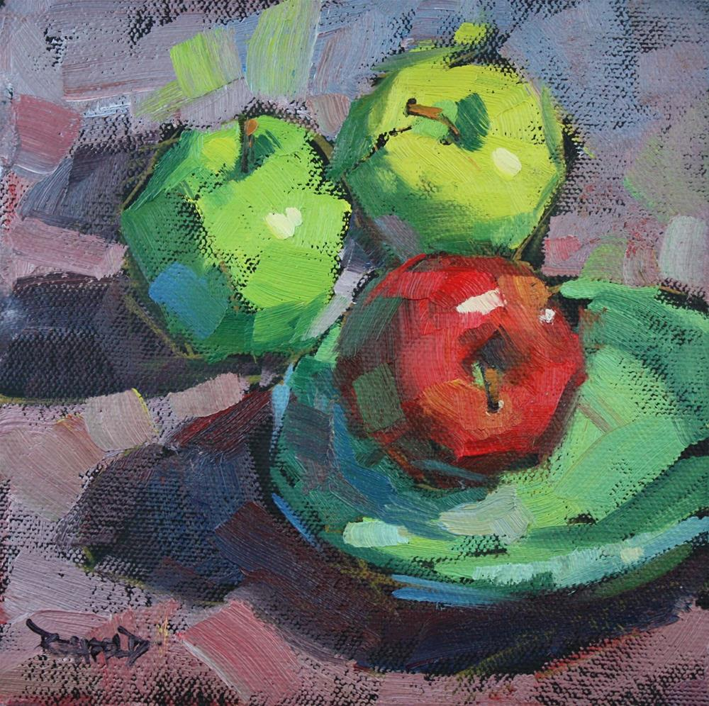 """Limited Palette of Apples"" original fine art by Cathleen Rehfeld"