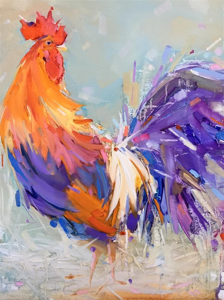 """Explosive Rooster"" original fine art by Kathleen Broaderick"