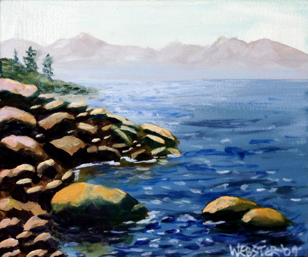 """Small Mountain Lake Rocky Shores - Original Acrylic Painting by Northern California Artist Mark Webs"" original fine art by Mark Webster"