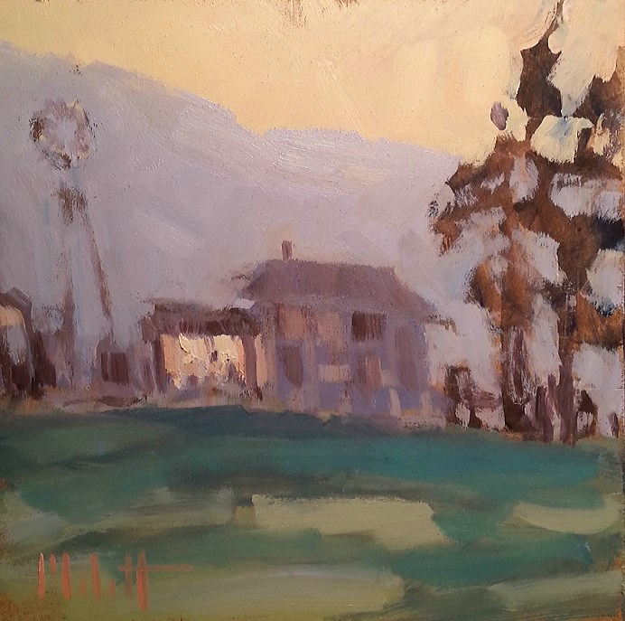 """Farmhouse in the Faint Light Rural Landscape Oil Painting"" original fine art by Heidi Malott"