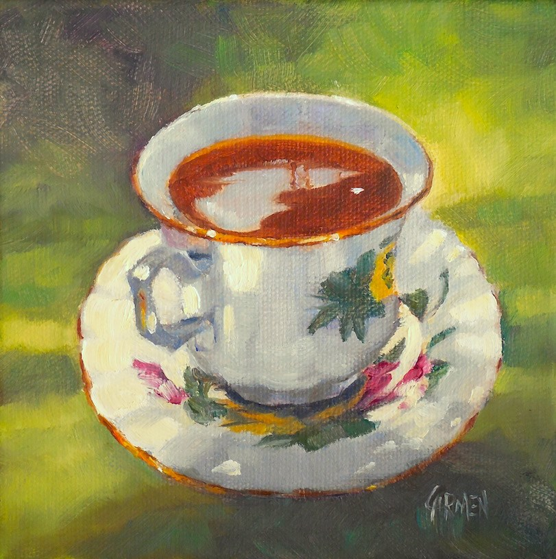 """Teacup, 6x6 Oil Painting on Stretched Canvas, Tea Party Kitchen Decor"" original fine art by Carmen Beecher"