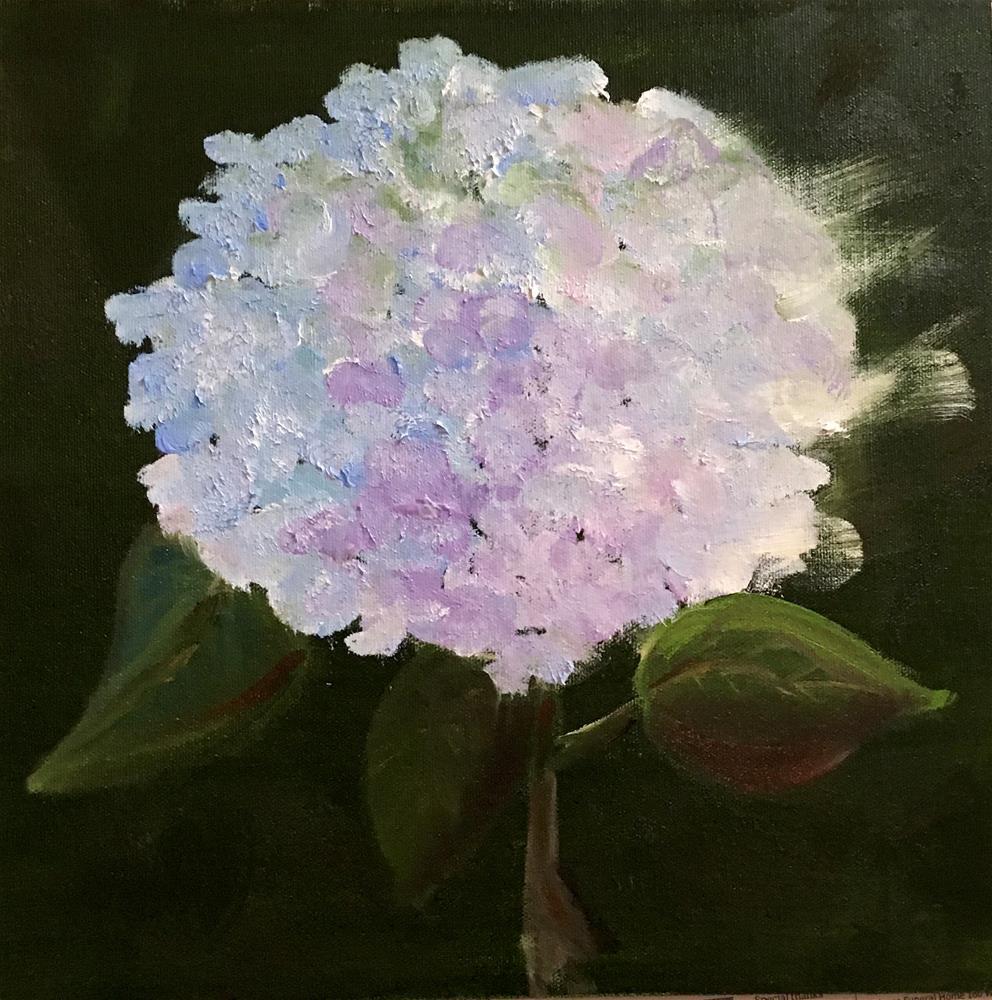 """Hydrangea and Three Leaves"" original fine art by Patty Barnes"