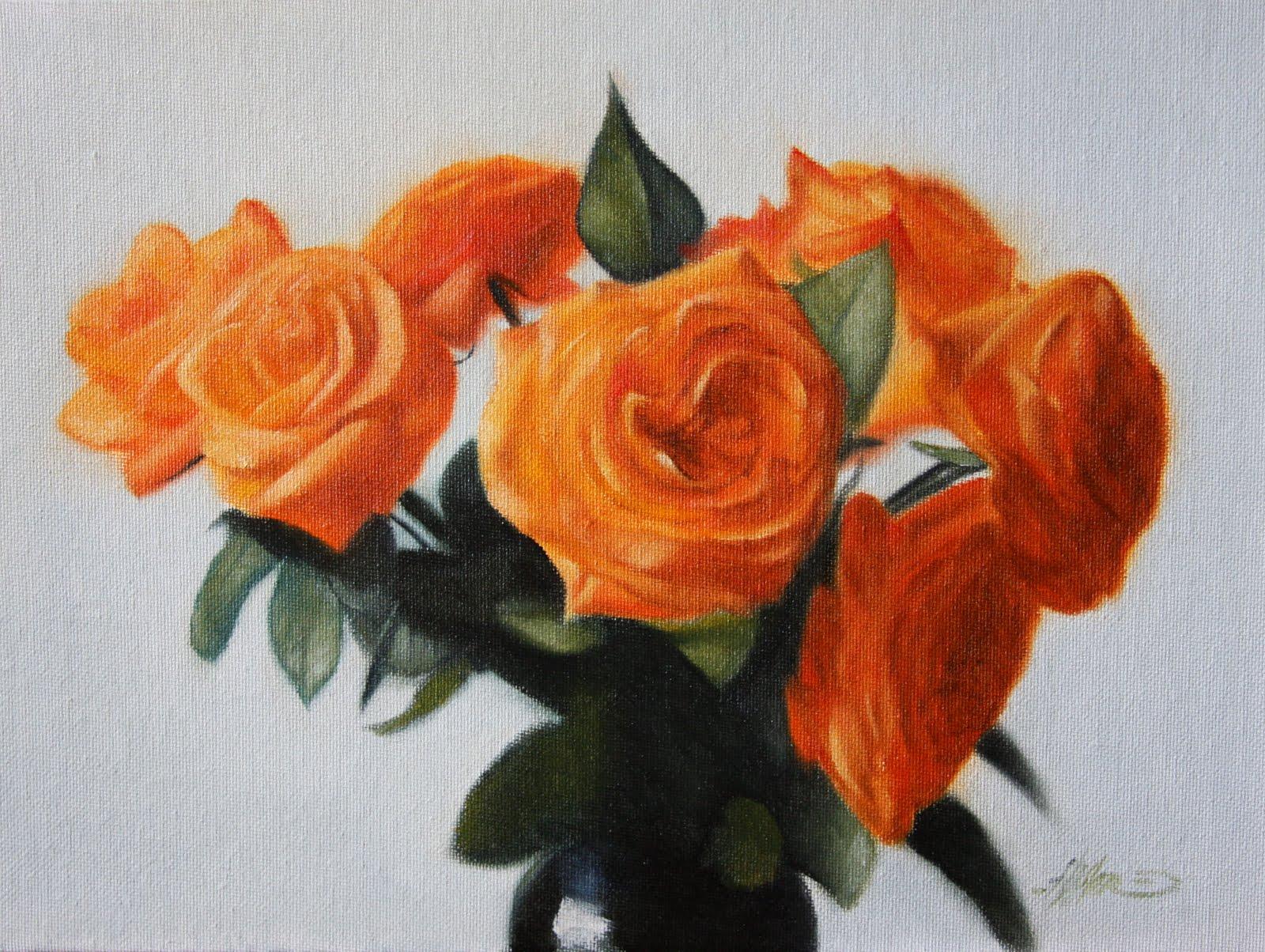 """""""Orange Roses"""" original fine art by Jonathan Aller"""