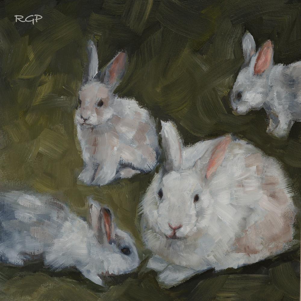 """""""Easter Bunnies 2016"""" original fine art by Rhea  Groepper Pettit"""