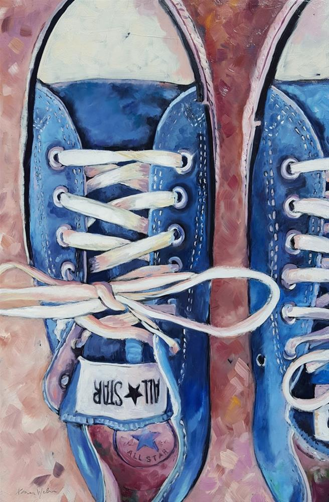 """Blue Chuck Taylors"" original fine art by Karen Weber"