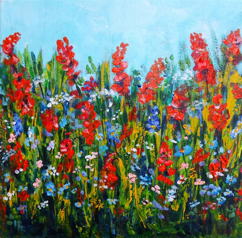 """Wild flowers"" original fine art by Asha Shenoy S"