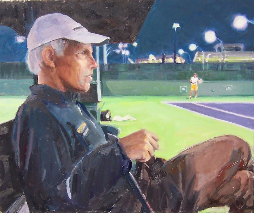 """Coach Steve Court Side,portrait,oil on canvas,20x24,priceNFS"" original fine art by Joy Olney"