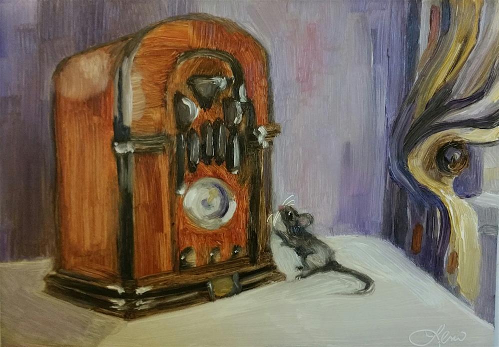 """Radio Mouse"" original fine art by Leni Tarleton"