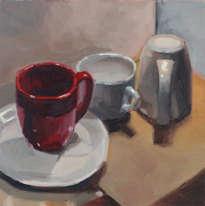 """3 for Coffee"" original fine art by Nealy May Riley"
