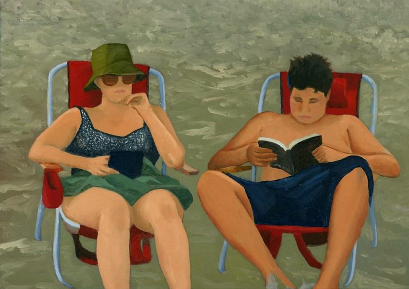 """""""BEACH BOOKS"""" original fine art by Nancy Herman"""