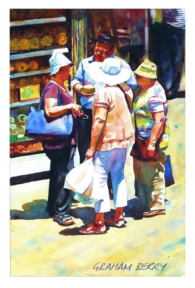"""Buying a cheese."" original fine art by Graham Berry"