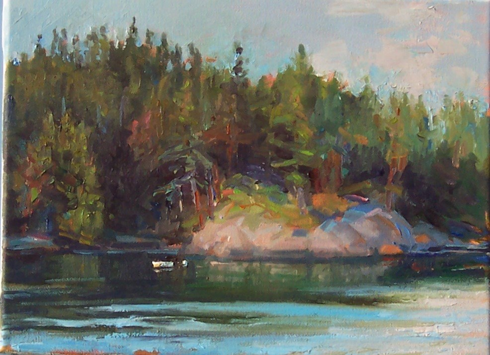 """Quiet Island Cove,seascape,oil on canvas,9x12.price$500"" original fine art by Joy Olney"