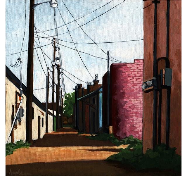 """""""Backstreet Alley city street scene urban art alleyway"""" original fine art by Linda Apple"""