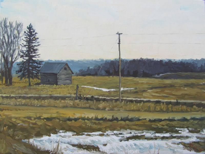"""Brown Fields and Old Snow"" original fine art by Hannah C. Heyer"