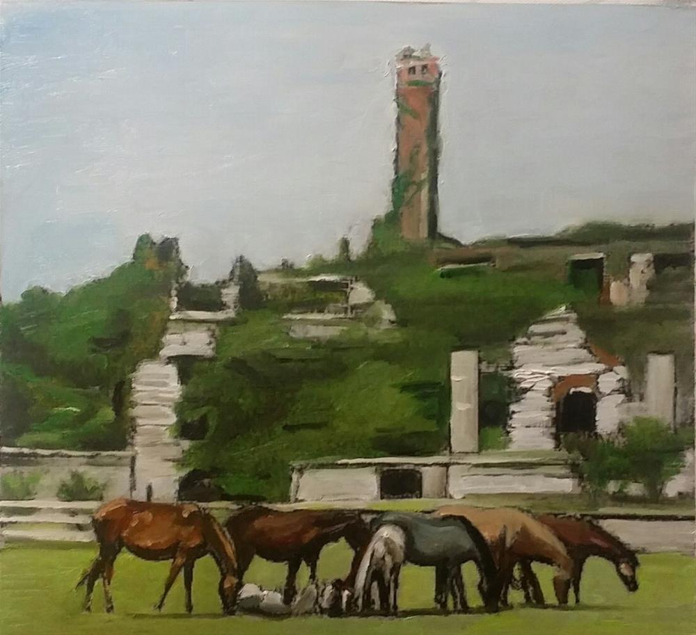 """The Horses (12 x 13 oil on canvas paper - no frame)"" original fine art by Ramon DelRosario"