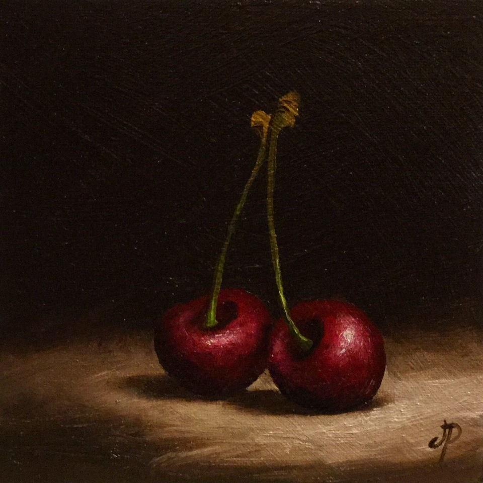 """""""Cherries"""" original fine art by Jane Palmer"""