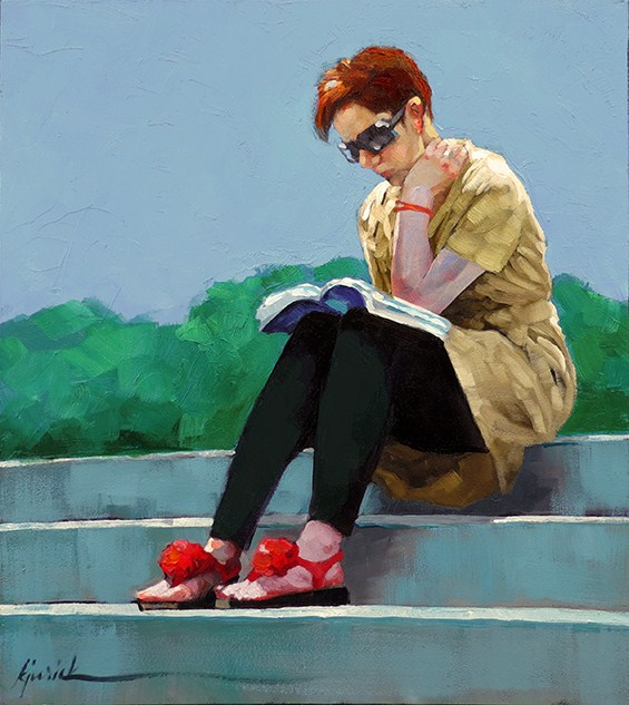 """Reading Up On"" original fine art by Karin Jurick"