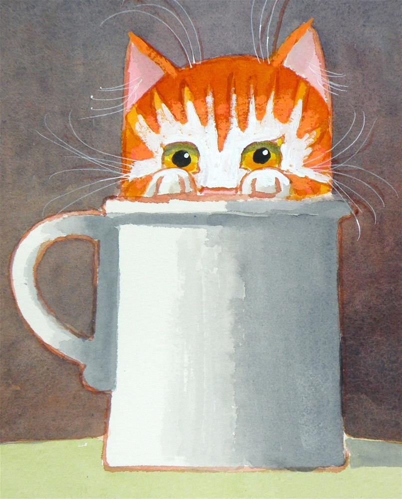 """Cup Cat"" original fine art by Toni Goffe"