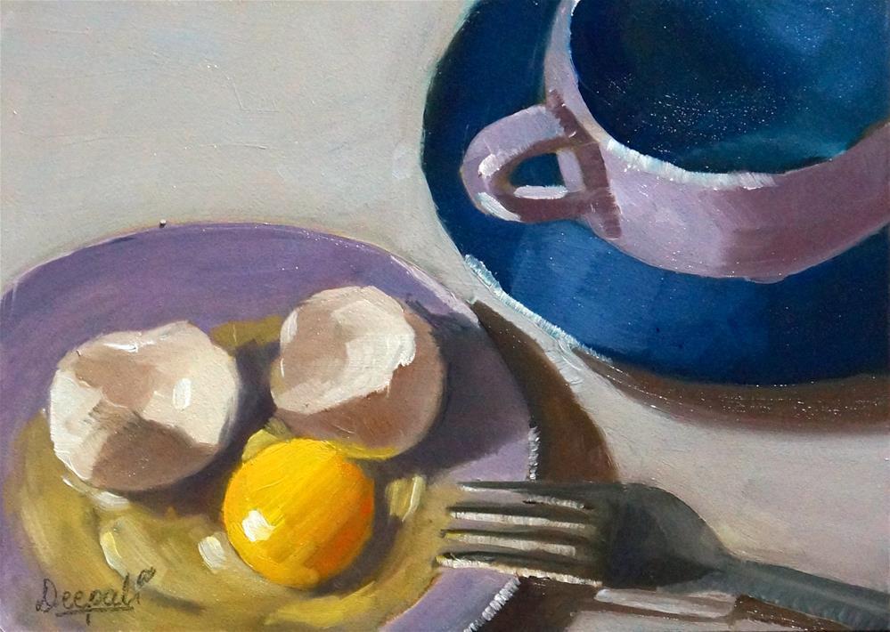 """Egg with teacup"" original fine art by Dipali Rabadiya"