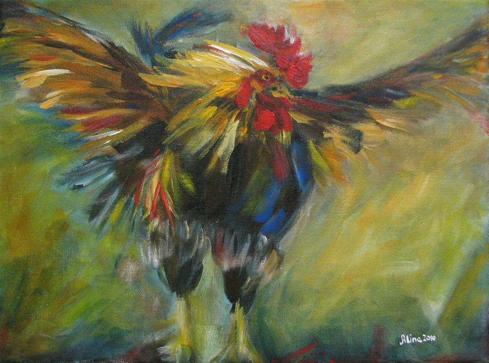 """""""Rooster"""" original fine art by Alina Vidulescu"""
