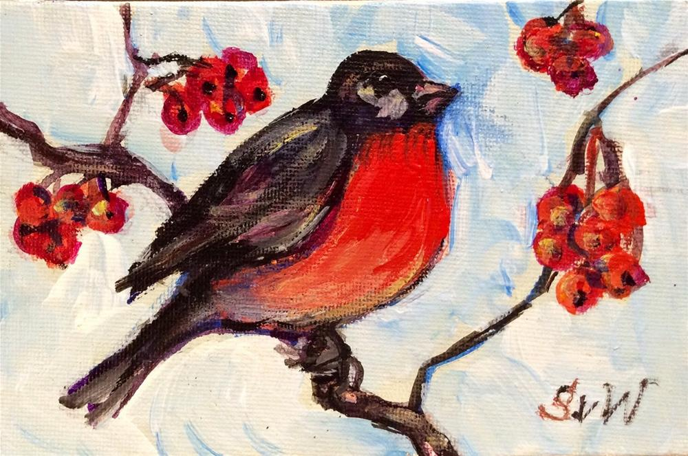 """Bullfinch painting"" original fine art by Sonia von Walter"